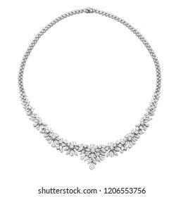 Diamond necklace on white background isolated