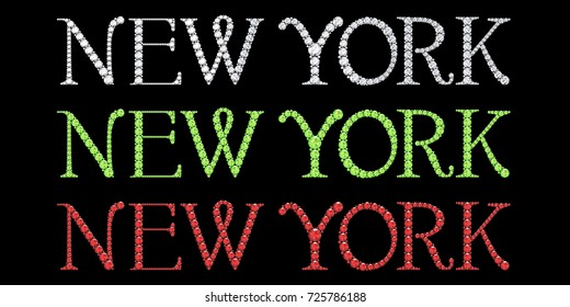 diamond new york text with black background (high resolution 3D image)