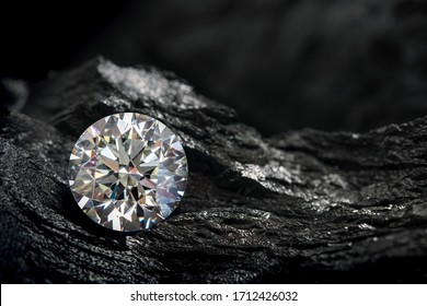 diamond on black coal background