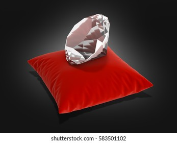 diamond on a pillow on black gradient background 3d render