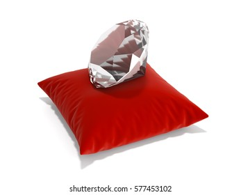 diamond on a pillow on white background 3d render