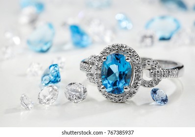 Diamond ring. Ring with diamonds and  large topaz. Topaz and diamond stones.