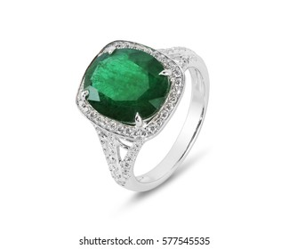 Diamond ring. Diamond ring with emerald isolated on white background. Ring with diamonds and  large emerald.