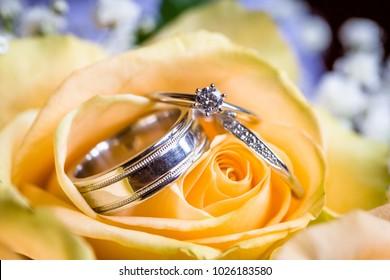 diamond ring, gold wedding ring