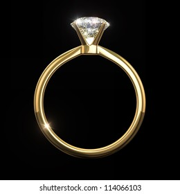 Diamond ring - - isolated on black background with clipping path