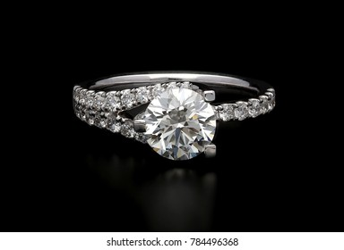 diamond ring on black backgound
