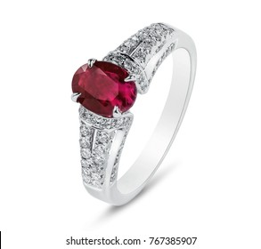 Diamond ring. Diamond ring with ruby isolated on white background. Ring with diamonds and ruby.