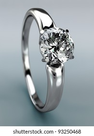 Diamond Ring wedding gift isolated. Close Up of a White Gold Ring with Diamonds.