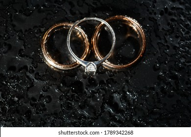 Diamond Rings In Black Close Up Shot