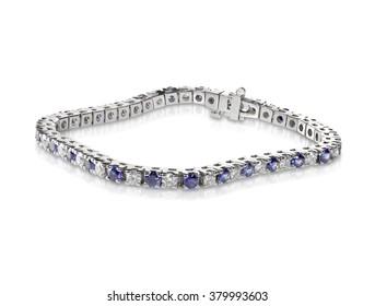 Diamond and Sapphire Tennis Bracelet isolated on white