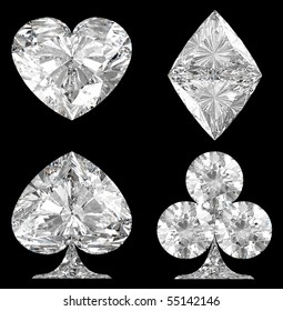 Diamond shaped Card Suits over black background. Extralarge resolution.  Other gems are in my portfolio.