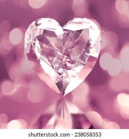 diamond shaped pink heart