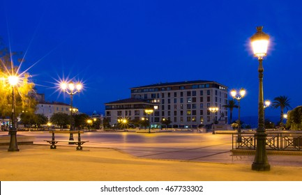 The Diamond square at night, Ajaccio city, Corsica island, France.