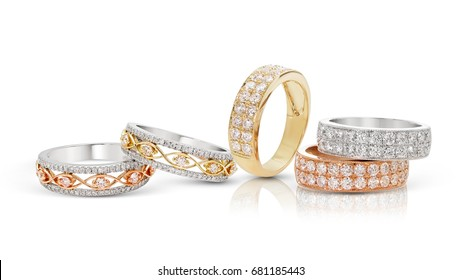 diamond stacked rings group on white background,white gold,yellow gold,rose gold