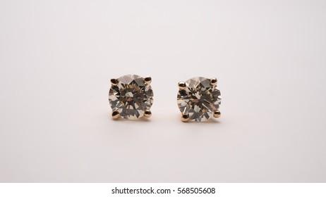 Diamond Stud Earrings Macro Shot