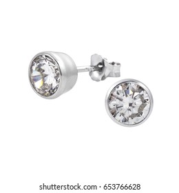 Diamond stud fine jewelry round brilliant pierced earrings isolated on white with a reflection