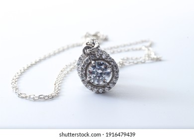Diamond Studded Real Silver Necklace