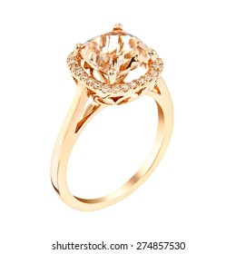 Diamond Wedding pink Gold ring. isolated on white