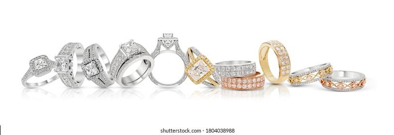 diamond wedding ring  jewelry group on white,isolate