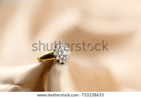 Diamond Wedding Ring On Silk Cloth Stock Photo Edit Now 733238635
