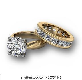 Diamond wedding ring set on white
