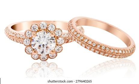 Diamond wedding rose gold wedding ring jewelry. isolated on white