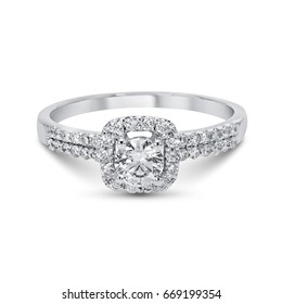 Diamond white gold ring isolated
