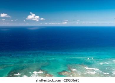 Diamondhead Beach as seen from the top of Diamondhead in Hawaii