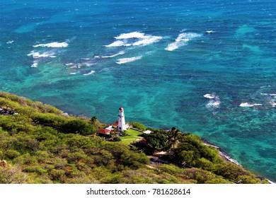 Diamondhead Lighthouse as seen from the top of Diamondhead, Hawaii
