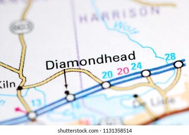 Diamondhead. Louisiana. USA on a map