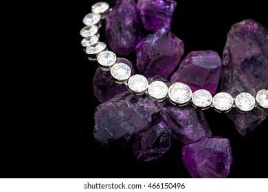 Diamonds bracelet, Diamonds on Amethyst stone, bracelet accessories