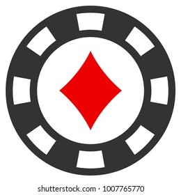 Diamonds Casino Chip flat raster pictograph. An isolated icon on a white background.