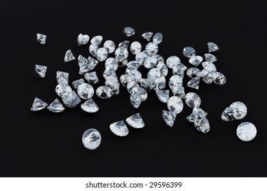 diamonds heap on black background