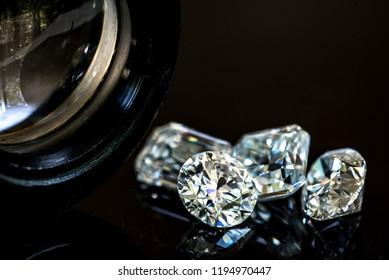 Diamonds with jewelry loupe