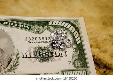 Diamonds on $1 million bill.