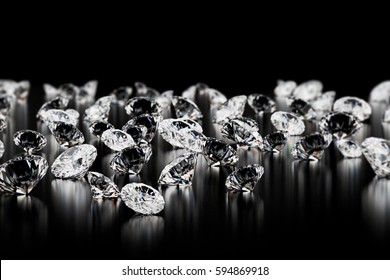 Diamonds on black background. 3D render