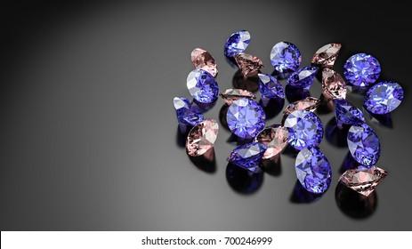 Diamonds on a black background. 3d illustration.