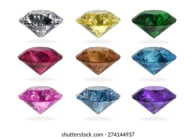 Diamonds round shape collection on white