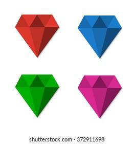 Diamonds set illustration in flat design background