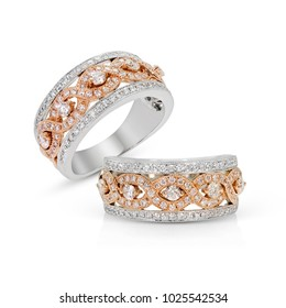 Diamonds Wedding Eternity Band Ring pave set in pink gold group on white background