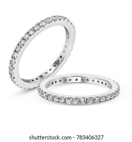 Diamonds Wedding Eternity Band Ring pave set in white gold