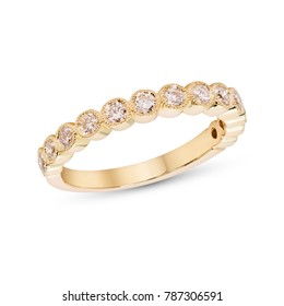 Diamonds Wedding Eternity Band Ring pave set in yellow gold on white background