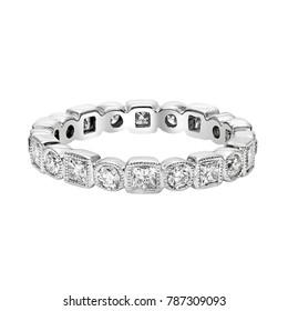 Diamonds Wedding Eternity Band Ring pave set in white gold on white background
