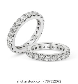 Diamonds Wedding Eternity Band Ring pave set in white gold group on white background