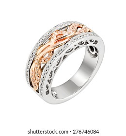 diamonds white gold and rose gold ring two tone jewelry. isolated on white