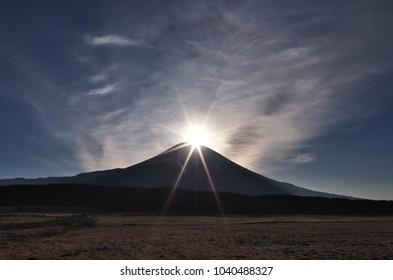 "Diamonf Fuji seen from ""Asagiri Plateau"", Shizuoka, Japan. Diamond Fuji is View of the sunrise at the summit of Mt. Fuji."