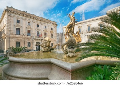 Diana fountain in the center of Siracusa - piazza Archimede