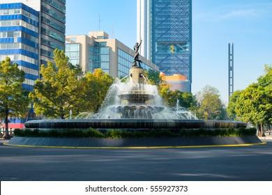 The Diana the Huntress fountain at Paseo de la Reforma in Mexico City