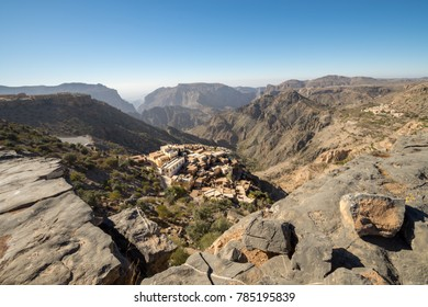 Diana Viewpoint Omani Mountains at Jabal Akhdar in Al Hajar Mountains, Oman at sunset. This place is 2000 meters above sea level.