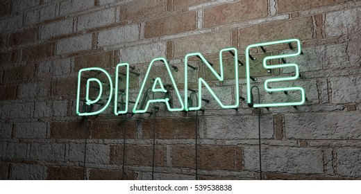 DIANE - Glowing Neon Sign on stonework wall - 3D rendered royalty free stock illustration.  Can be used for online banner ads and direct mailers.
